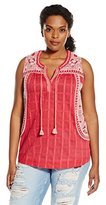 Lucky Brand Women's Plus-Size Embroidered Sleeveless Blouse