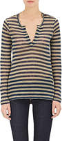 Barneys New York WOMEN'S STRIPED LINEN LONG-SLEEVE SHIRT