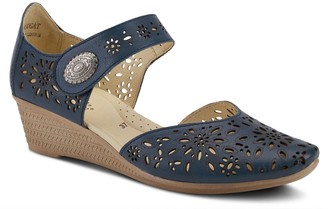Spring Step Adjustable Leather Mary Janes - Nougat