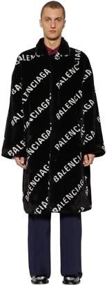 Balenciaga Oversize Logo Faux Fur Coat