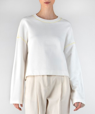 Atm French Terry Zig Zag Detail Sweatshirt - Chalk