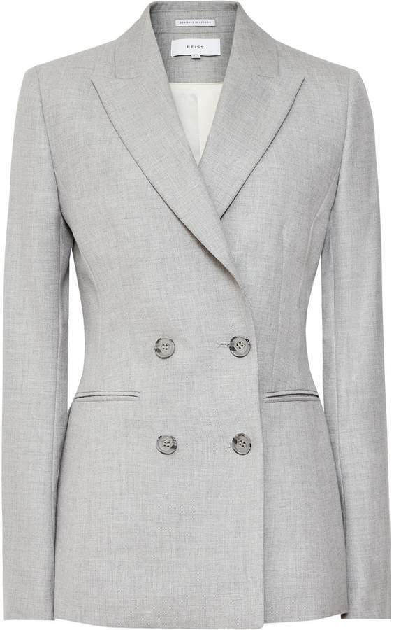 Reiss Estie Jacket - Double-breasted Blazer in Grey