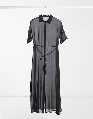 Topshop maxi beach shirt in black