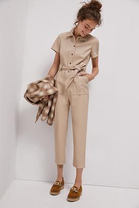 AVEC LES FILLES Cindy Faux Leather Jumpsuit By in Beige Size XS