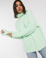 Bershka roll neck cable knitted jumper in mint