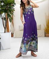 Reborn Collection Women's Maxi Dresses Purple - Purple Floral Sleeveless Side-Pocket Maxi Dress - Women