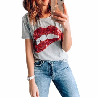 Lunoakvo Women Sequined Glittery Lip Print Short Sleeve T-Shirt Cute Embroidery Teen Girls Tops Tee Grey