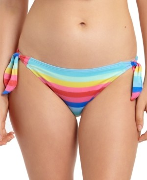 California Waves Shiny Striped Side-Tie Hipster Bikini Bottoms, Created for Macy's Women's Swimsuit