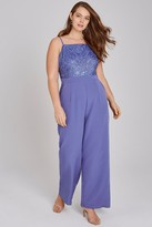Little Mistress Curvy Tamsin Blue Sequin Cami Jumpsuit