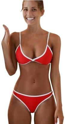 JYC Women's Girls Bikini Set Sexy Swimsuit Tropical Leaves Print Padded Bathing Suit Low Waist Beach Swimwea Beach Bikini Set Push-up Padded Bra Bathing Suit Swimsuit (Red Medium)