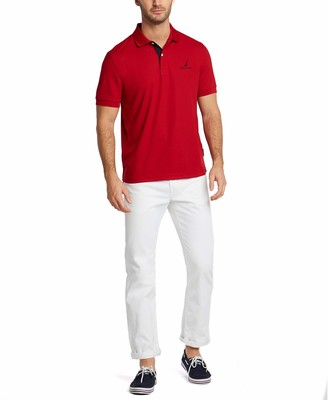 Nautica Men's Short Sleeve Stain Resistant Stripe Collar Polo Shirt