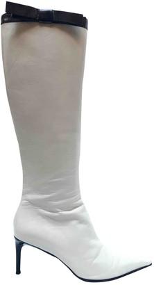 Miu Miu White Leather Boots