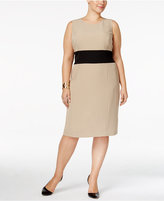 Kasper Plus Size Colorblocked Sheath Dress