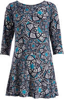 Glam Black & Teal Medallion Scoop Neck Maternity Tunic