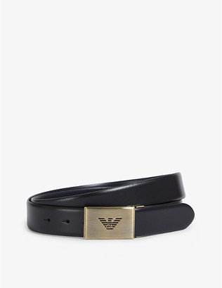 Emporio Armani Brand-embossed buckle leather belt