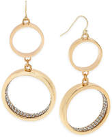 Thalia Sodi Gold-Tone Pave Double Hoop Drop Earrings, Created for Macy's