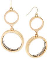 Thalia Sodi Gold-Tone Pavé Double Hoop Drop Earrings, Only at Macy's