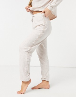New Look velour insert co-ord lounge sweatpants in cream