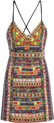 Alice + Olivia Open-back Embroidered Embellished Silk Mini Dress