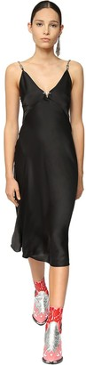 Paco Rabanne Satin Midi Dress W/ Metal Chain Straps