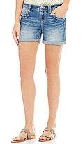 Miss Me Cross Pocket Rolled Cuff Stretch Denim Shorts