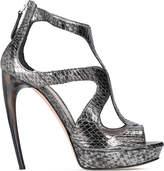 Alexander McQueen Horn heel metallic snakeskin sandals