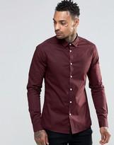 Asos Skinny Shirt In Dark Plum With Long Sleeves