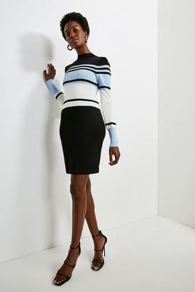 Karen Millen Colour Block Stripe Knit Dress
