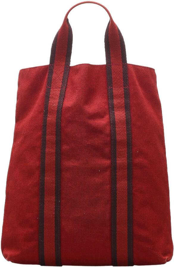 Hermes Red Canvas Fourre Tout Cabas bag
