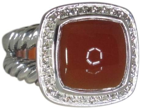 David Yurman Albion 925 Sterling Silver with Carnelian and Diamond Ring Size 5