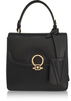 Versace DV One Black Leather Medium Shoulder Bag w/Fully Charged Suede Lateral Gussets