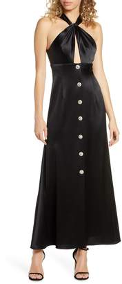 Jill by Jill Stuart Twisted Halter Button Front Gown
