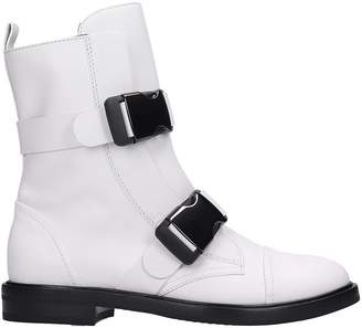 Casadei Combat Boots In White Leather