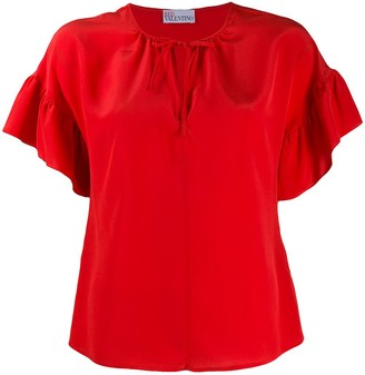 RED Valentino Ruffled-Sleeve Short Blouse