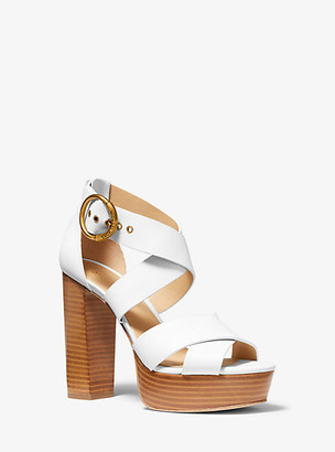 Michael Kors Leia Leather Platform Sandal