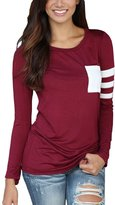 Bling Stars Womens Long Sleeve Round Neck Pocket Solid Color Splice Shirt Blouse Tops