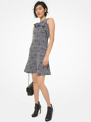 Michael Kors Tweed Jacquard Ruffled Dress