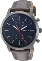 Fossil Men's '44mm Townsman' Quartz Stainless Steel and Leather Casual Watch, Color: (Model: FS5378)