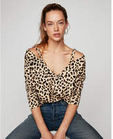 Express one eleven leopard print slash neck london sweatshirt