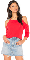 Michael Stars Exposed Shoulder Tee in Red.