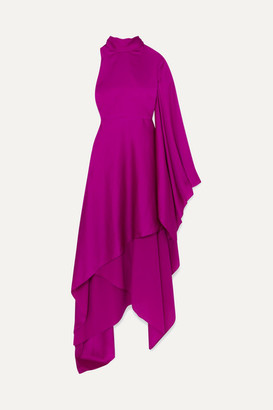 SOLACE London Naida One-shoulder Draped Satin Midi Dress - Purple
