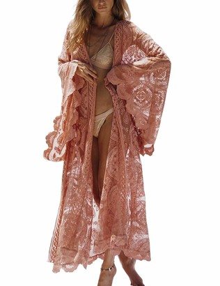 Outgoings Women Lace Swimsuit Cover Up Bathing Suit Kimono Long Beach Dress Coverup Pink
