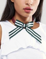 Asos Stripe Bow Choker Necklace