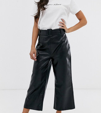 Fashion Union Petite Fashion Unioin Petite wide leg crop pant with belt detail in pu