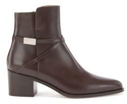 HUGO BOSS Italian Leather Booties With Monogram Hardware - Dark Brown