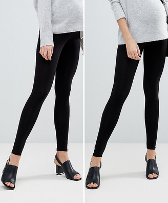 Asos DESIGN Maternity 2 pack over the bump high waisted leggings in black