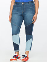 ELOQUII Plus Size Skinny Colorblocked Jeans