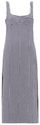 Three Graces London Tomasina Gingham Cotton-seersucker Dress - Womens - Navy Print