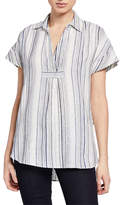 Neiman Marcus Striped High-Low Linen Tunic Top