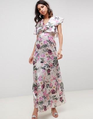 Asos Design DESIGN lace insert ruffle maxi dress in pretty floral print-Multi